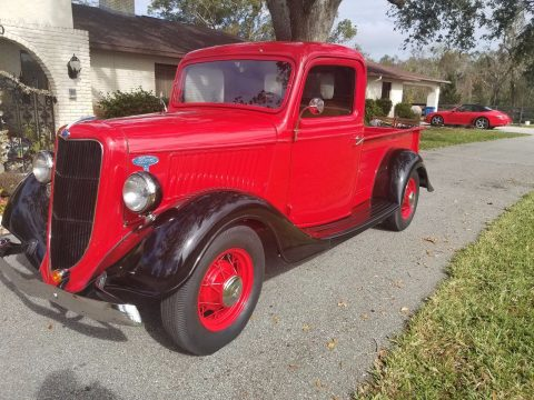 newer 49 flathead 1935 Ford pickup restored for sale